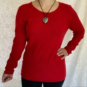 Black Goat Red Cashmere Sweater Size XL